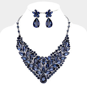 Stone Cluster Leaf Evening Necklace Earrings